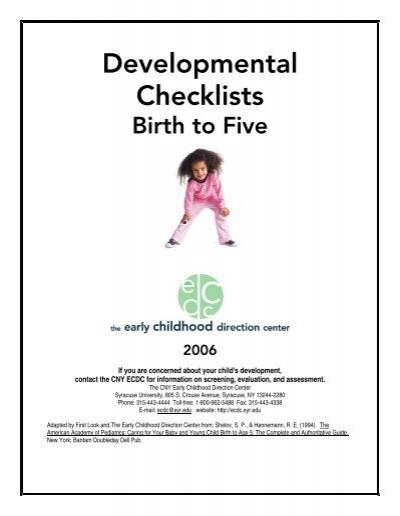 Developmental Checklist Birth to 5 Years