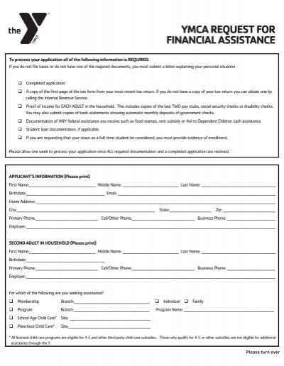ymca request for financial assistance  YMCA of Greater Louisville