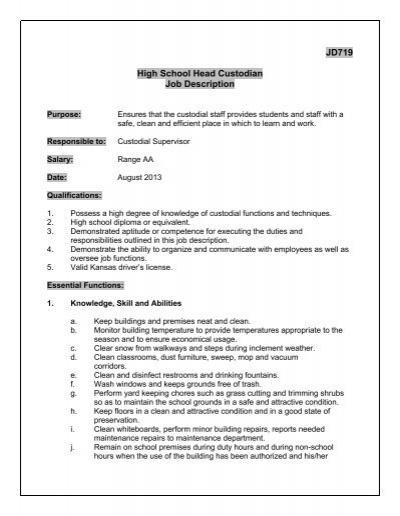 JD719 High School Head Custodian Job Description  Derby Public