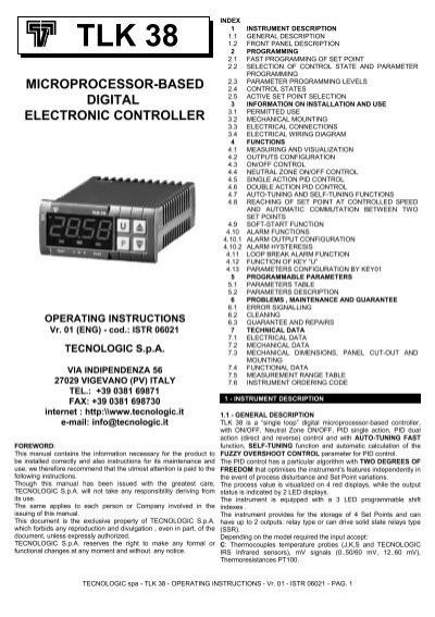 tlk 38 microprocessor-based digital electronic controller