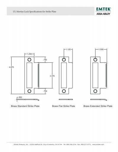 UL Mortise Lock Specifications for Strike Plate Brass Flat