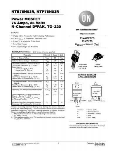 NTB75N03R, NTP75N03R Power MOSFET 75 Amps, 25 Volts N