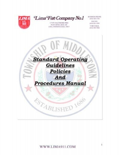 Standard Operating Guidelines Policies And Procedures Manual