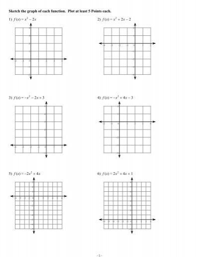 Graphing Parabolas Worksheet 2 with Answer Key