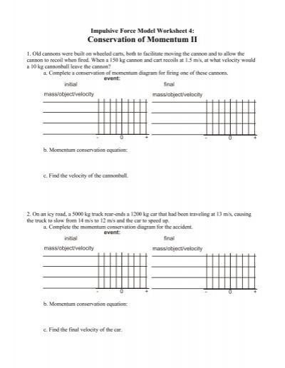 Worksheet 4 Conservation Of Momentum Ii