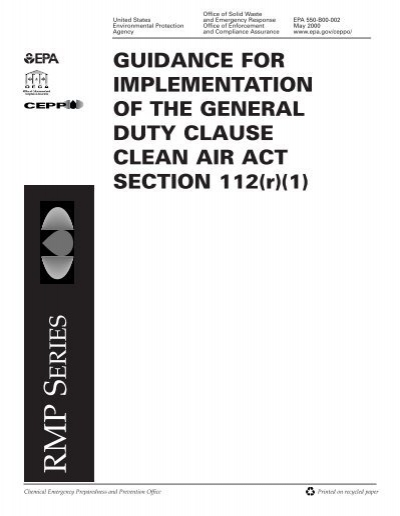Guidance to Implement the General Duty Clause of the Clean