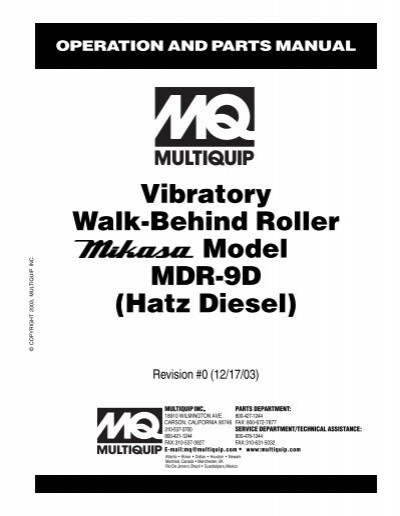 Vibratory Walk-Behind Roller Model MDR-9D (Hatz Diesel)