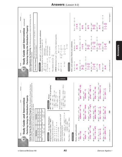 answers to 9.2 and 9.3 packet