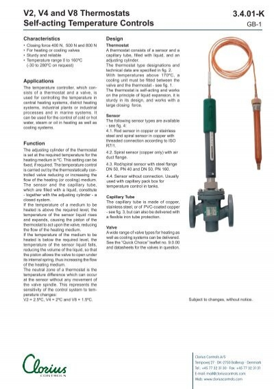 V2, V4 and V8 Thermostats self-acting temperature controls