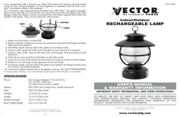 Vector Manufacturing Rechargeable Lantern Vector