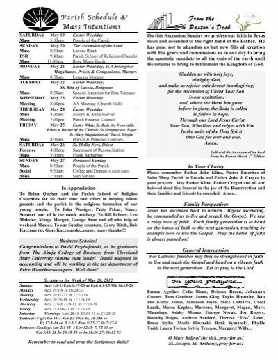 From the Pastor's Desk Parish Schedule & Mass Intentions