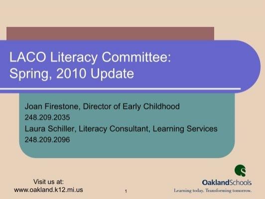 LACOLiteracysuptupdate PDF  Learning Achievement Coalition