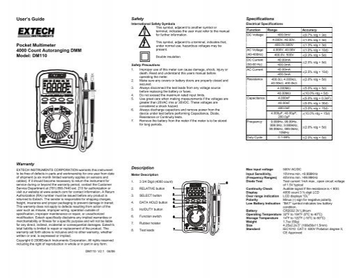 Extech DM110 Mini Pocket MultiMeter User Manual PDF
