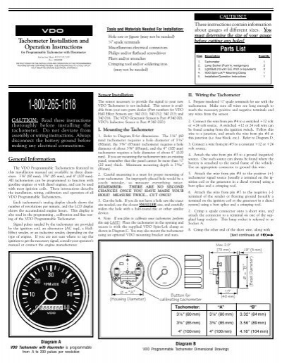 vdo tachometer with hour meter wiring diagram 2003 dodge 2500 stereo programmable tach hourmeter - instruments and ...