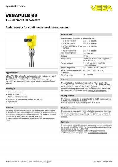 VEGAPULS 62 Radar Level Transmitter for Harsh Liquid