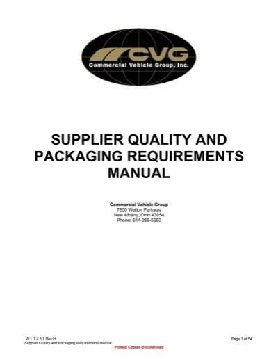 supplier quality and packaging requirements manual