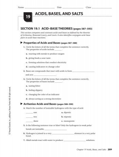 All Worksheets  Acids And Bases Worksheets With Answers