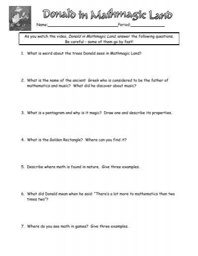 Donald Duck Mathmagic Land Worksheet Free Worksheets