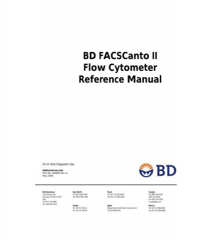 BD FACSCanto II Flow Cytometer Reference Manual