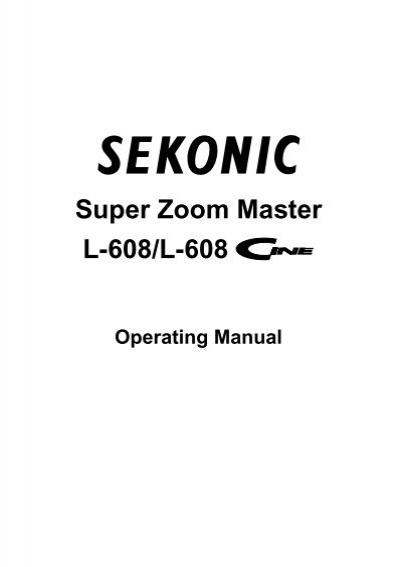 Sekonic L-608 Manual