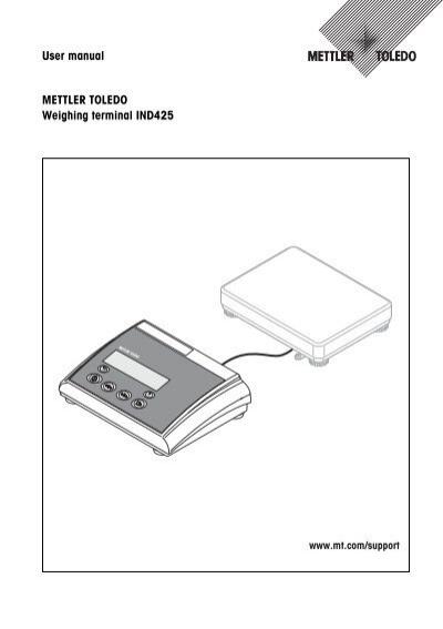 User manual METTLER TOLEDO Weighing terminal IND425