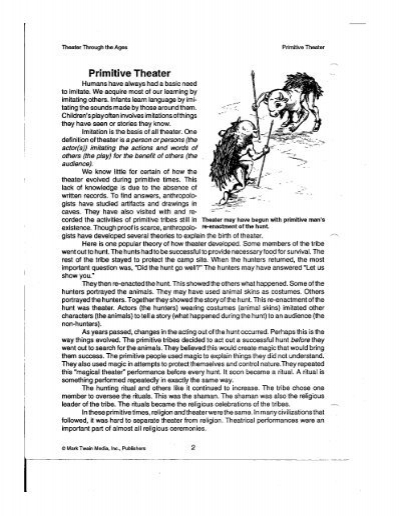 Primitive Theatre Worksheet