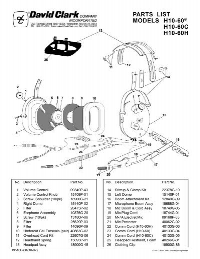 David Clark H10 76 Wiring Diagram : 33 Wiring Diagram