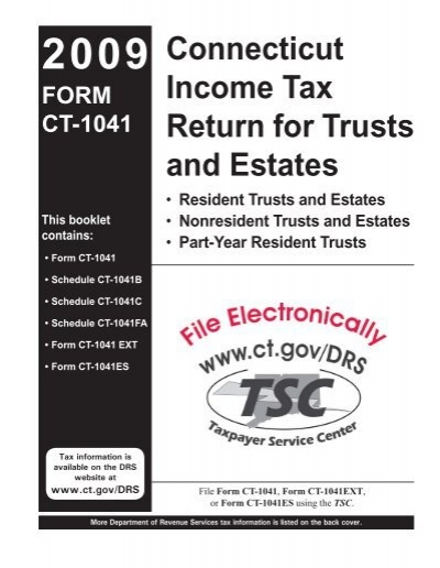 CT-1041 booklet, Connecticut Income Tax Return for Trusts