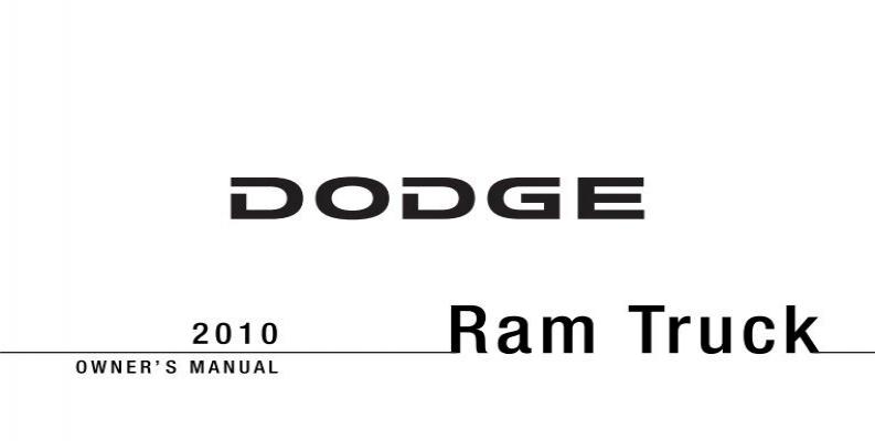 2010 Dodge Ram Truck Owner's Manual