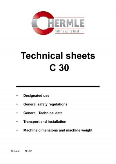 Hermle C30 Technical Sheets