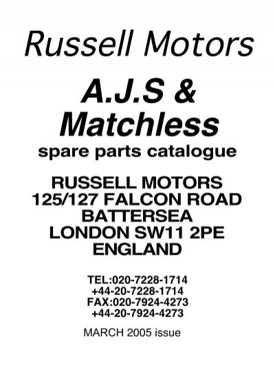spare parts catalogue RUSSELL MOTORS 125/127 FALCON ROAD