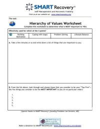 HOV: Hierarchy of Values Worksheet - SMART Recovery