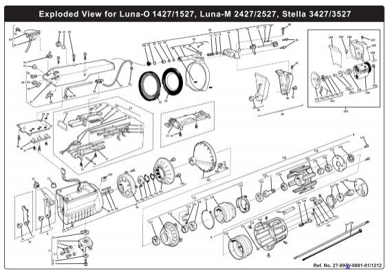 Exploded View for Luna-O 1427/1527, Luna-M 2427/2527