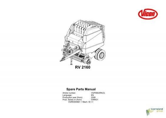 RV 2160 Spare Parts Manual