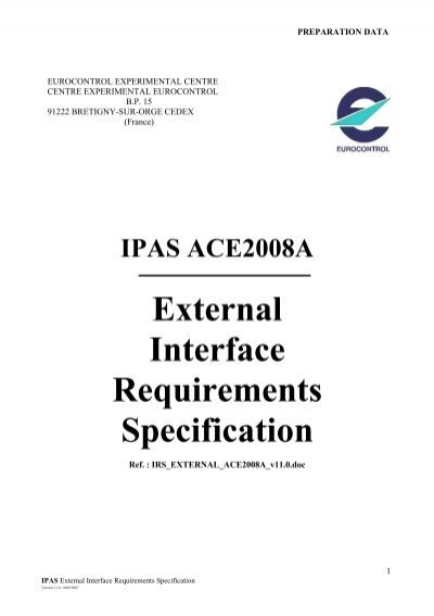 IPAS ACE2008A External Interface Requirements Specification