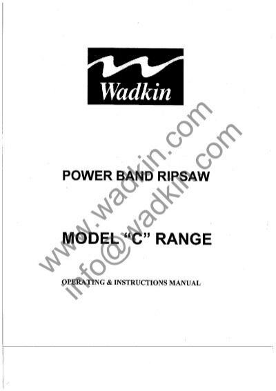 Wadkin C5 C6 C7 C8 C9 Bandsaw Manual and Parts List