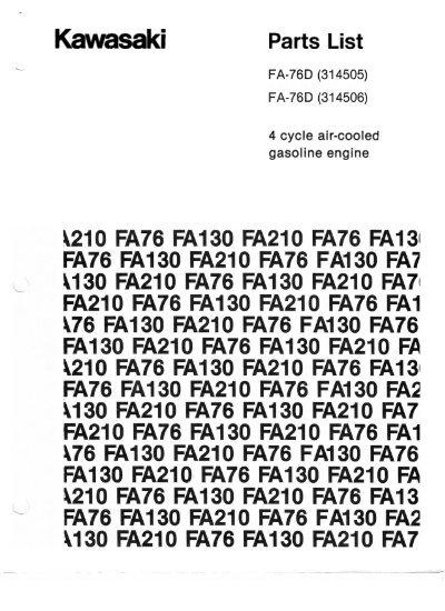 Kawasaki FA76D (Pulse Carb) Parts List