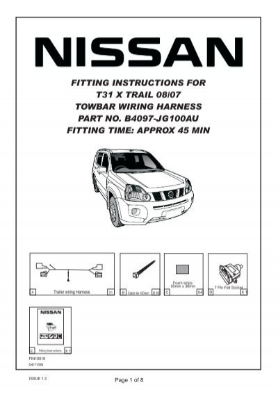 fitting instructions for nissan t31 x trail towbar wiring