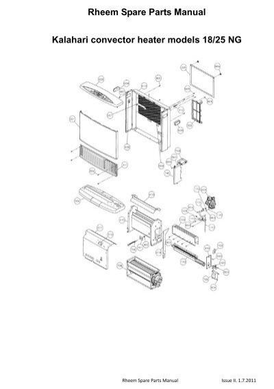 Rheem Spare Parts Manual Kalahari convector heater models