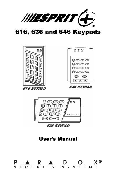 Esprit 616, 636 and 646 keypads