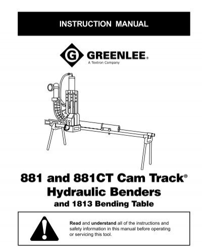 881 and 881CT Cam Track Hydraulic Benders