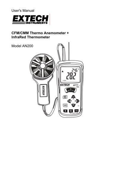 User's Manual CFM/CMM Thermo Anemometer + InfraRed