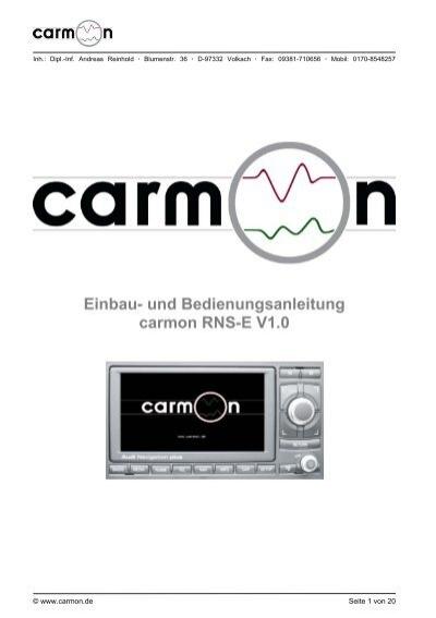 Einbau- und Bedienungsanleitung carmon RNS-E V1.0