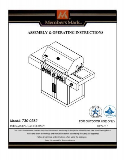 ASSEMBLY & OPERATING INSTRUCTIONS Model 730-0582