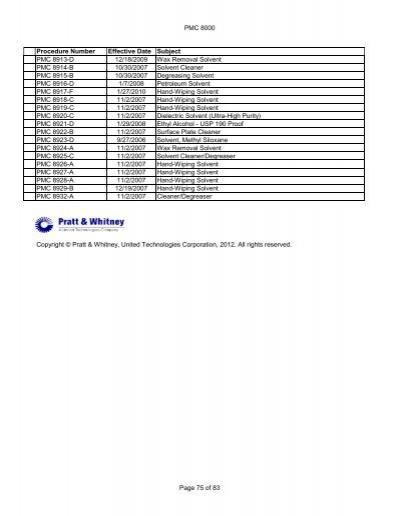 PMC 8000 Procedure Number