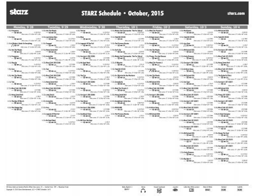 STARZ Schedule • October 2015