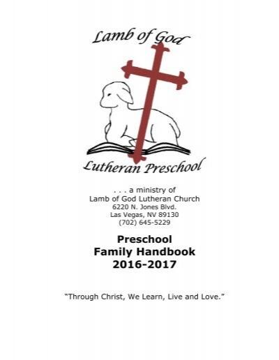Lamb of God Preschool Handbook 2016-2017