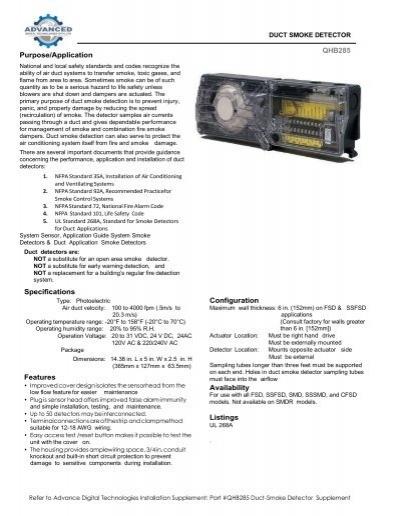QHB285 Duct Smoke Detector