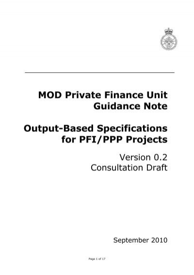 Output-Based Specifications for PFI/PPP Projects