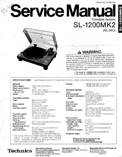 technics sl-1200 mk2 service manual